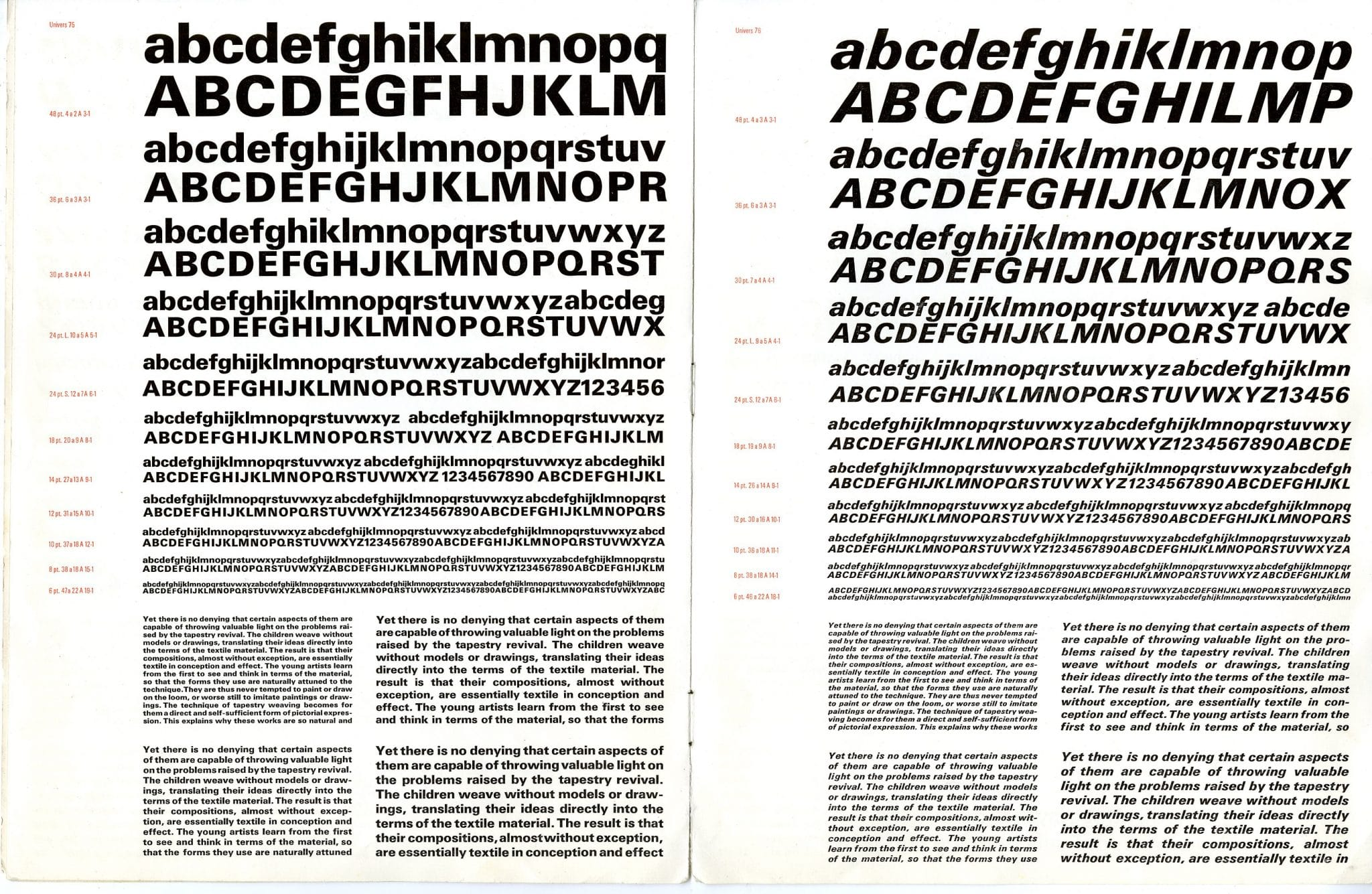 Univers Type Designed in 1957