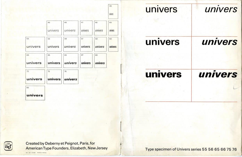 Univers Type Specimen Sheets Designed in 1957 by Adrian Frutiger 6