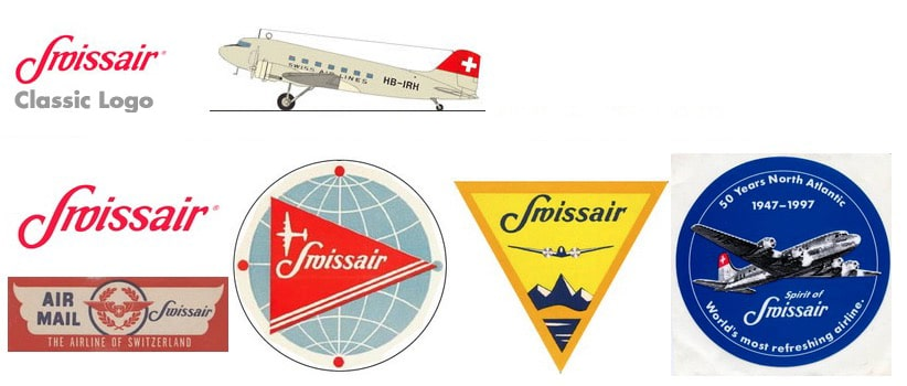 Vintage Swissair Logos 1940s