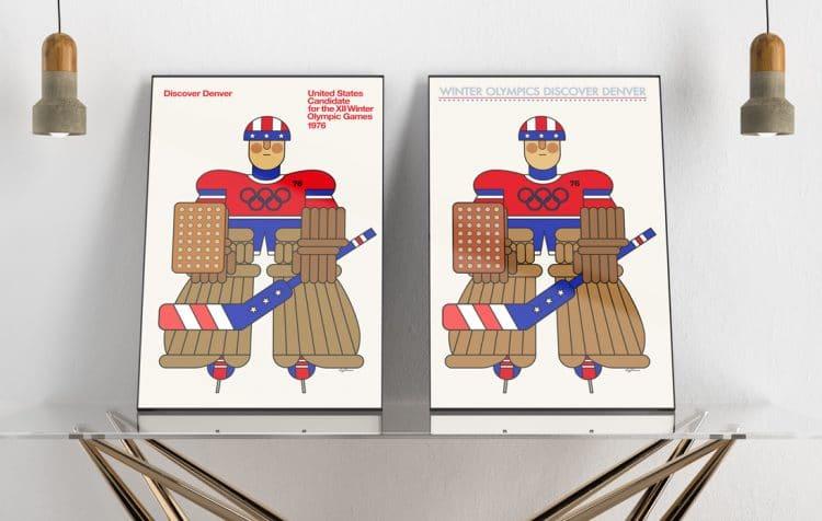 Winter Olympics Discover Denver Poster Hockey Colorado Poster Design recreated by The Logo Smith