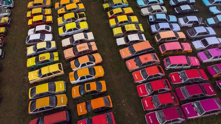 Solara Car Wrecks - Acrylic Colour Paint on 144 Scraped Cars by Zoer