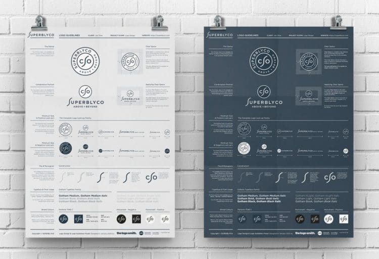 Superblyco A3 Logo Guidelines Poster Mockup Double Designed by The Logo Smith