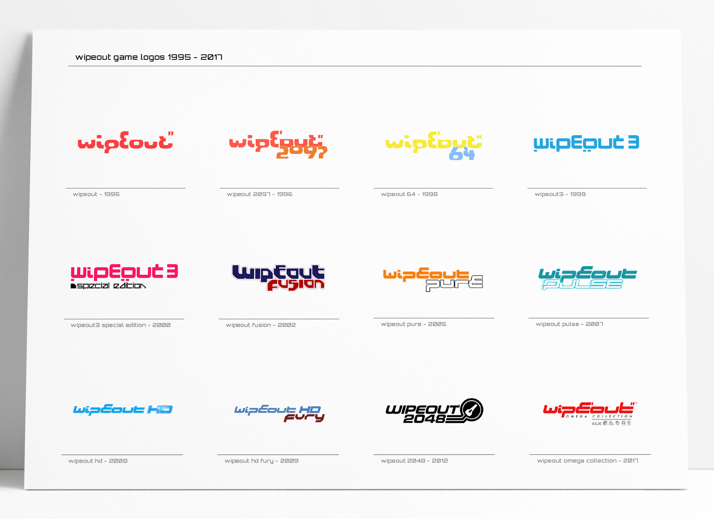 wipeout game logos 1995 - 2017 by the designers republic