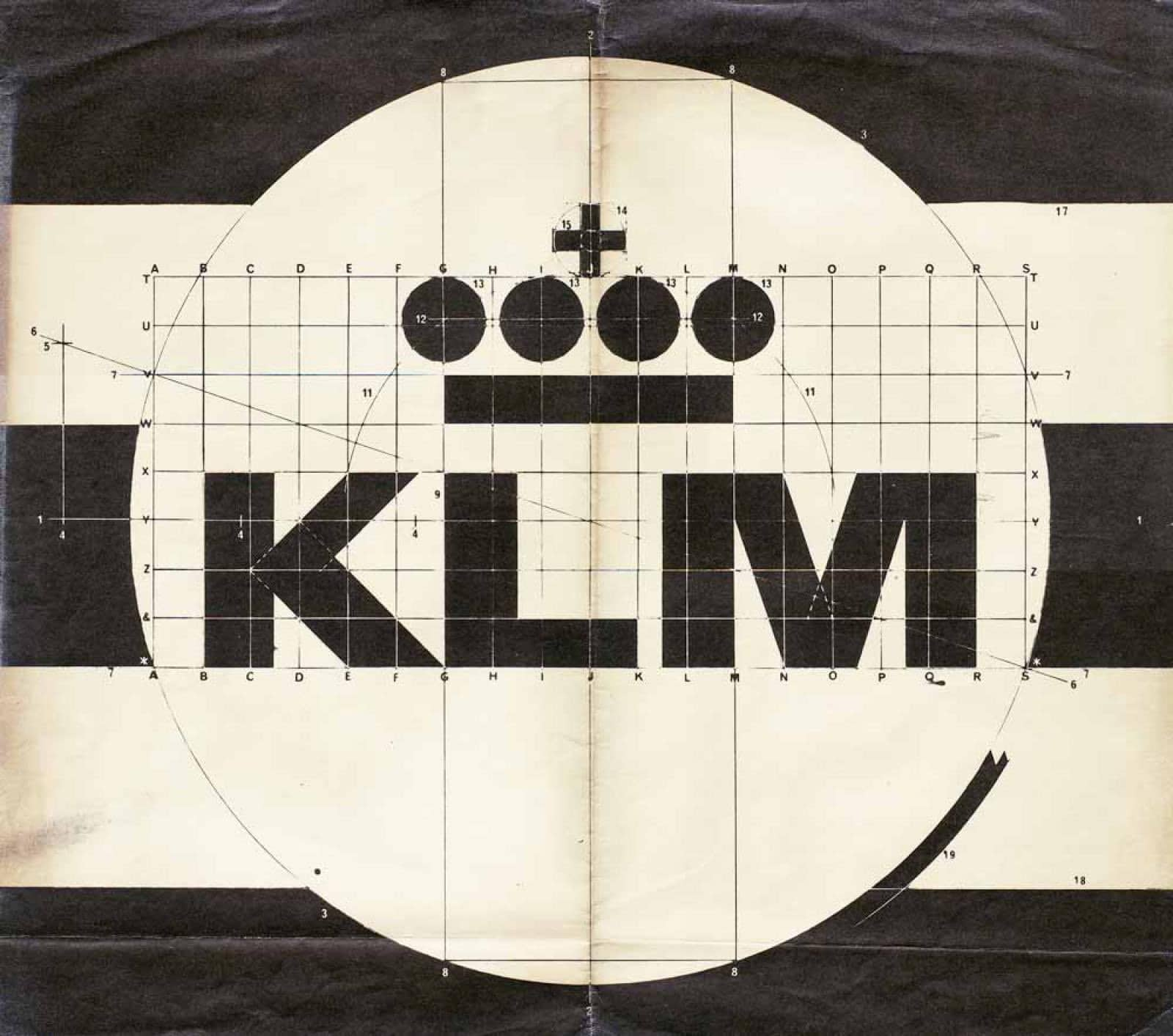 KLM Logo Construciton Grid by FHK Henrion 1961