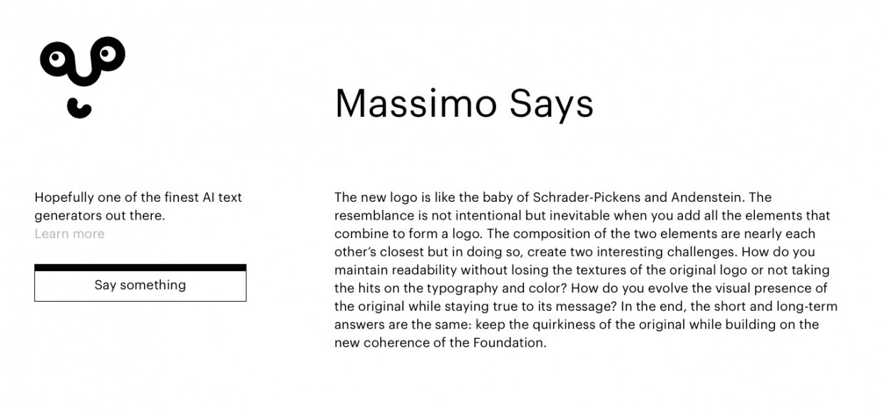 Massimo Says A fine AI Text Generator for the more discerning Designer.