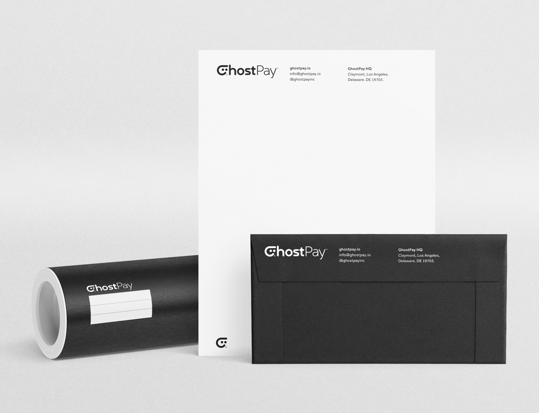 GhostPay Inc Cryptocurrency Stationery Letterhead Roll Tube Designed by The Logo Smith