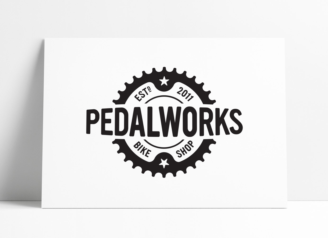 PedalWorks Bike Shop Logo and Brand Identity Design by The Logo Smith