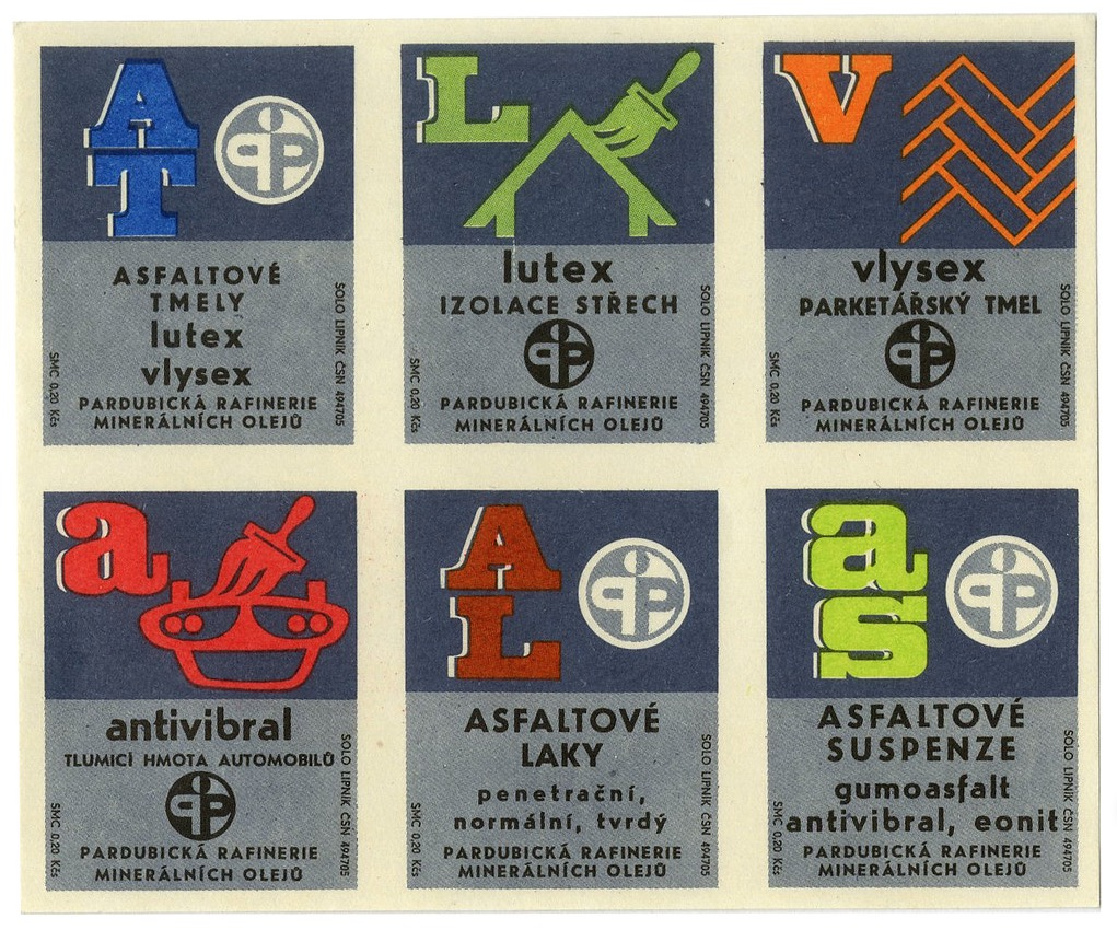Czechoslovakian matchbox labels uncut sheet