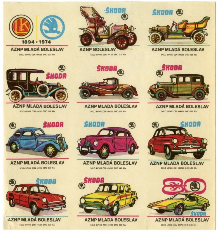 Czech matchbox labels (uncut sheet): 'Škoda automobile manufacturer'.  Factory: Solo Lipnik