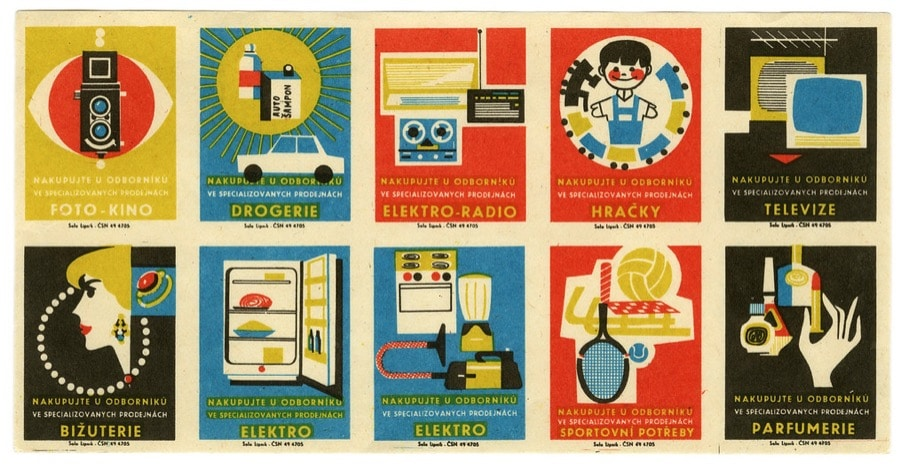 Czech Matchbox Labels (uncut sheet): 'From the professionals in specialized stores'.  Factory: Solo Lipnik
