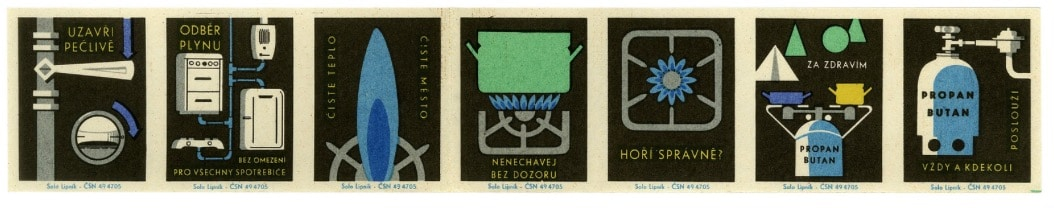 Czech Matchbox Labels: 'Gas/Propane'.  Factory: Solo Lipnik