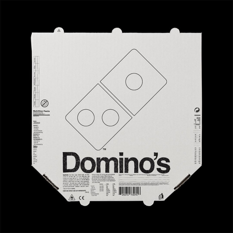 Dominos logo and brand redesigned minimal monochromatic style by Kunel Gaur