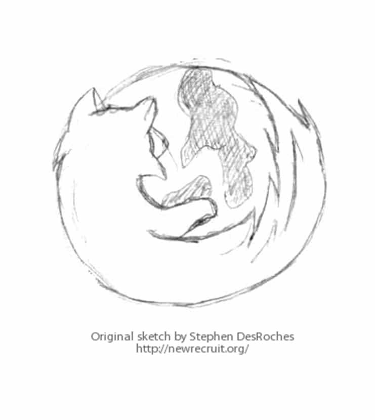 Firefox logo sketch by Stephen DesRoches