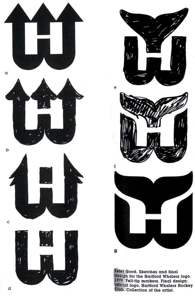 Hartford Whalers Logo design sketches