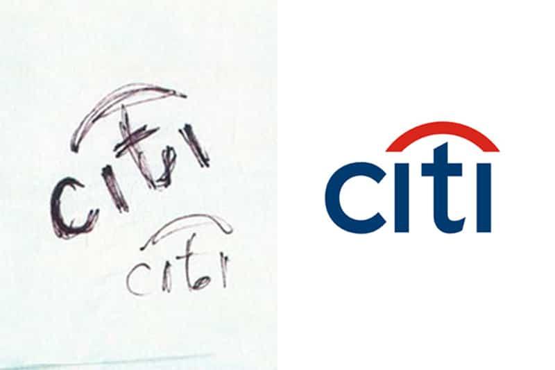 citibank napkin doodle sketch the logo smith
