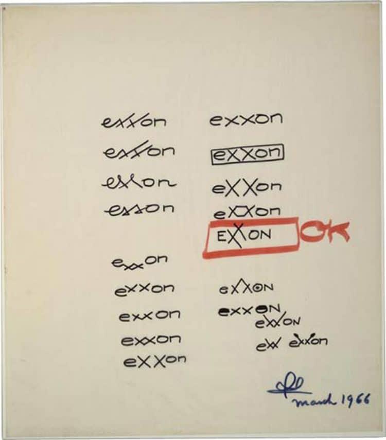 Exxon Logo Napkin Doodle Sketch by Raymond Loew