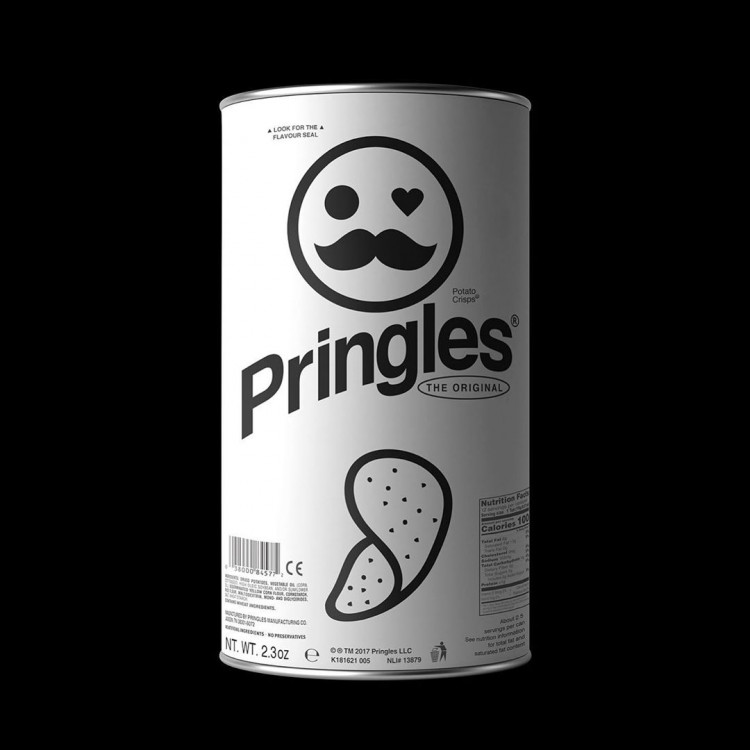 pringles logo and brand redesigned minimal monochromatic style by Kunel Gaur