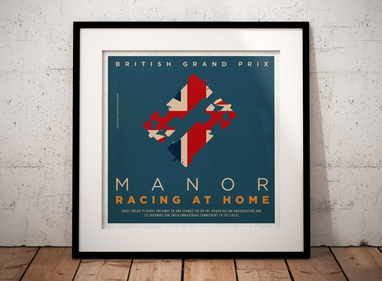 F1 Manor Racing Team 2016 Race Season Posters Square Format Framed Poster British GP - Manor Racing at Home - British Grand Prix