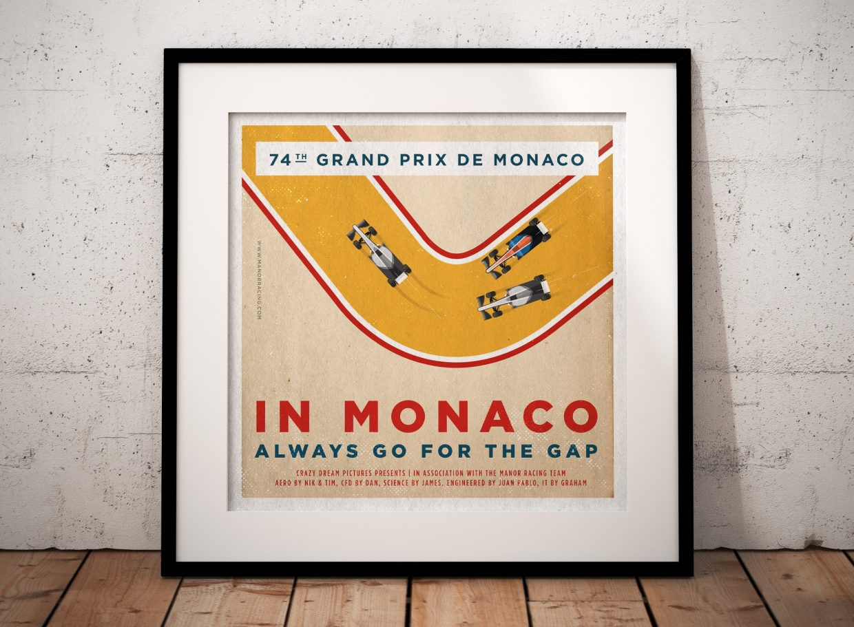F1 Manor Racing Team 2016 Race Season Posters Square Format Framed Poster Monaco GP