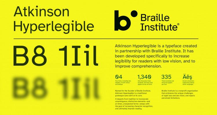 Braille Institue Atkinson Hyperlegible free typeface Featured