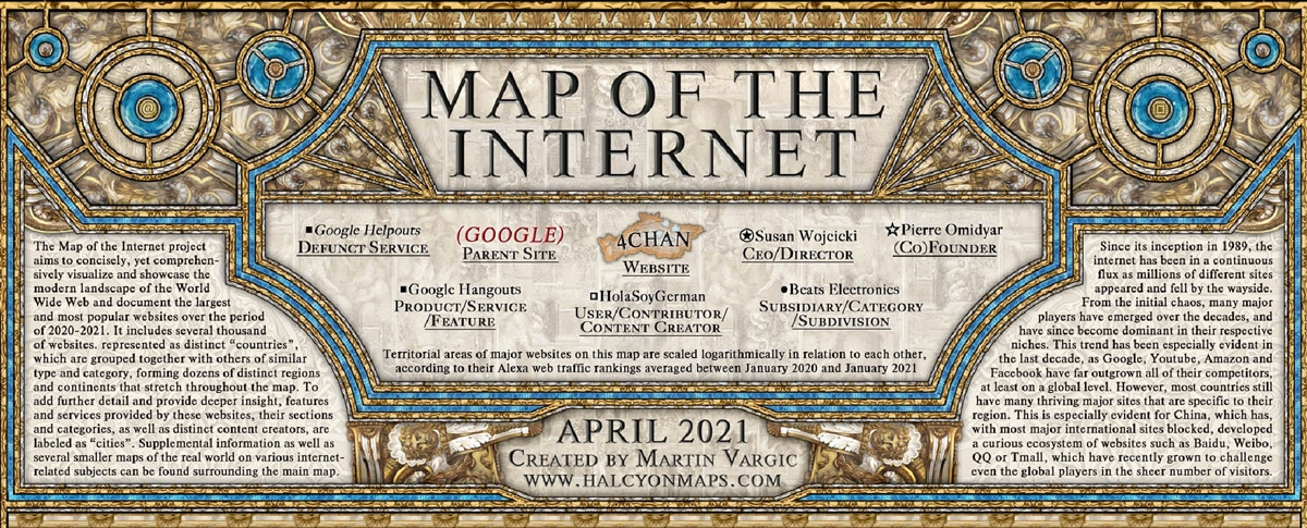 Map of the Internet 2021, by Martin Vargic at Halcyon Maps