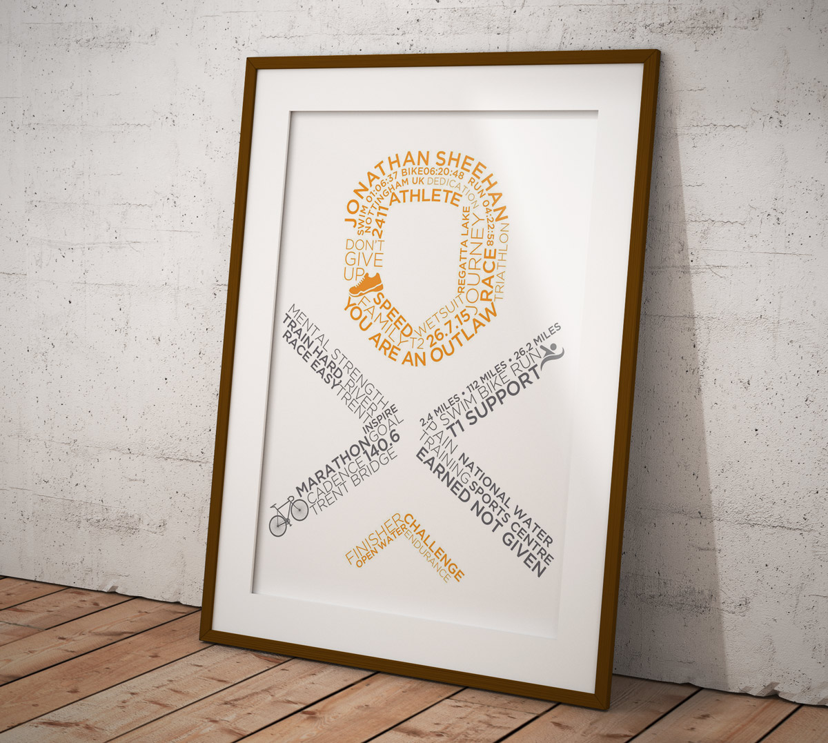 Buy Your Own Personalised & Customised Typographic Outlaw or IronMan Poster - Outlaw Logo Poster Style 1