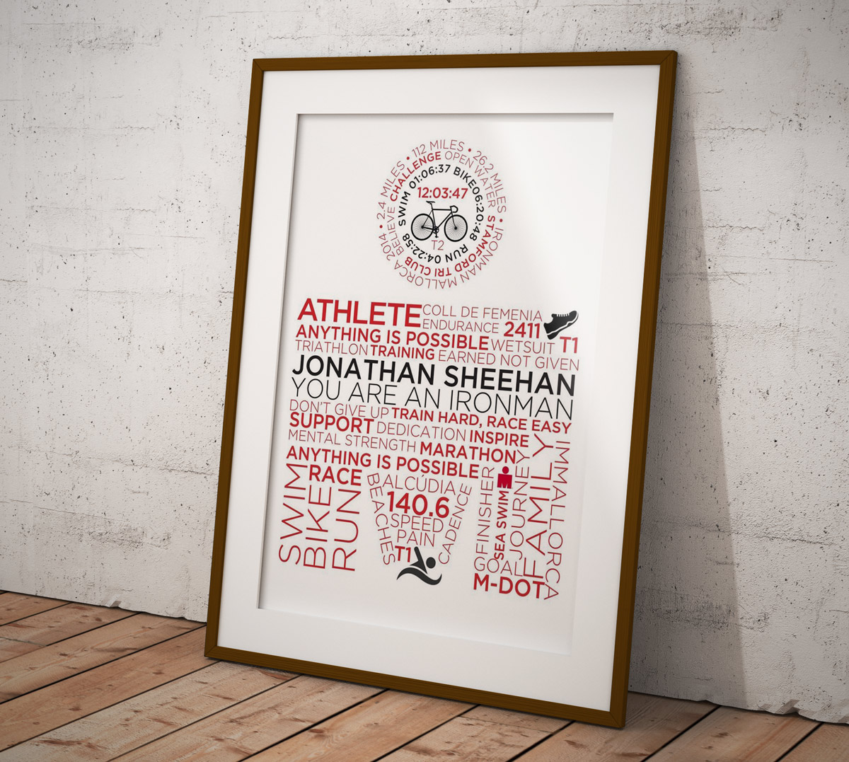 Outlaw Triathlon IronMan Personlisesd & Customised Typographic Posters for Commission