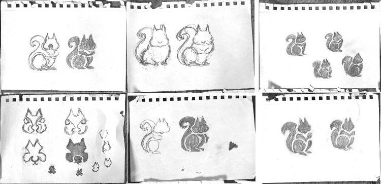 Pencil Sketches for Squirrel Logo Design by The Logo Smith